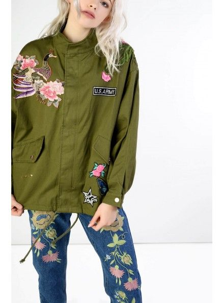 Khaki Embroidered Funnel Neck Utility Jacket - One Size Loose Fit