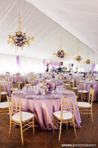 Lavender and Gold Wedding - I love the flower details on the chandeliers!