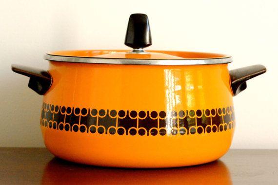 Retro kitchen stockpot in bright orange with by ThatRetroPiece