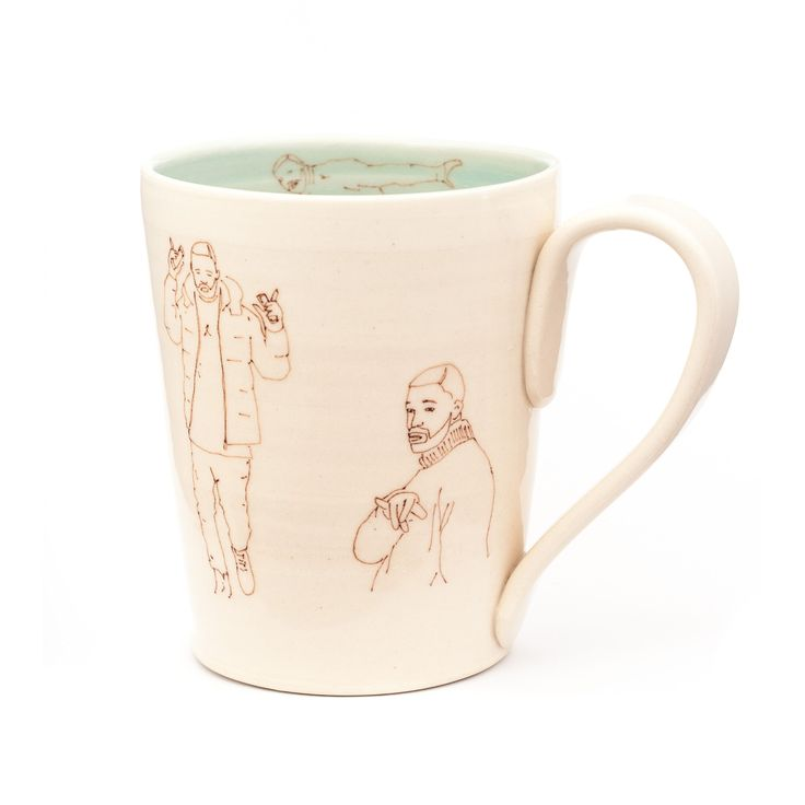 Perfect for the Drake devotee Handcrafted ceramic mug with Drake drawings Blue interior Approximate dimensions H x W 4 5 x 3 5 inches Add 1 inch for the handle Holds approx 400 ml No two Drake mugs are alike Drawings and placement of Drakes will vary