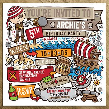 Pirate Childrens Party Invitations