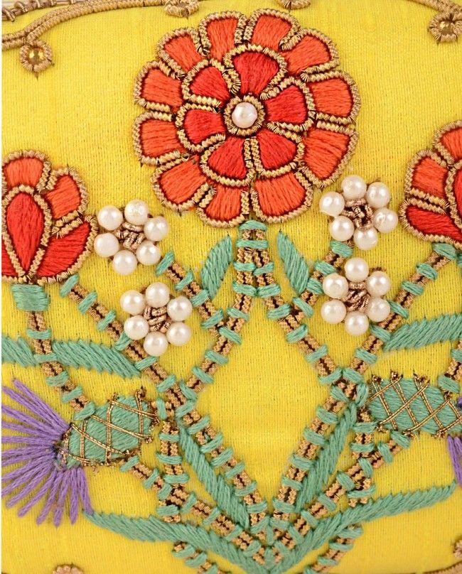 Floral Embroidered Yellow Box Clutch - Karieshma Sarnaa - Designers