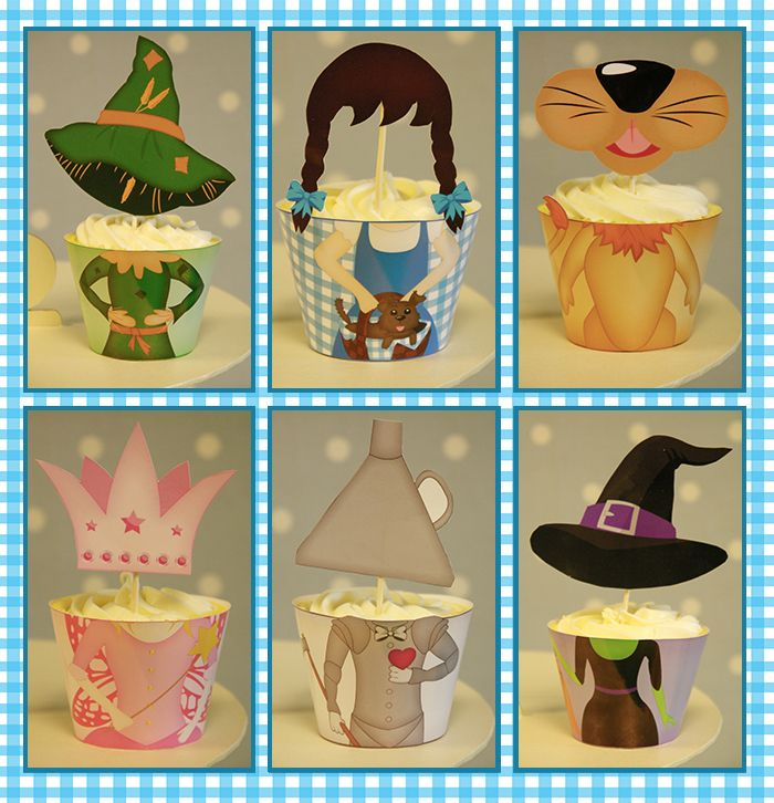 Printable Templates Wizard of Oz Character Cupcake Wraps & Toppers Wizard of Oz Party