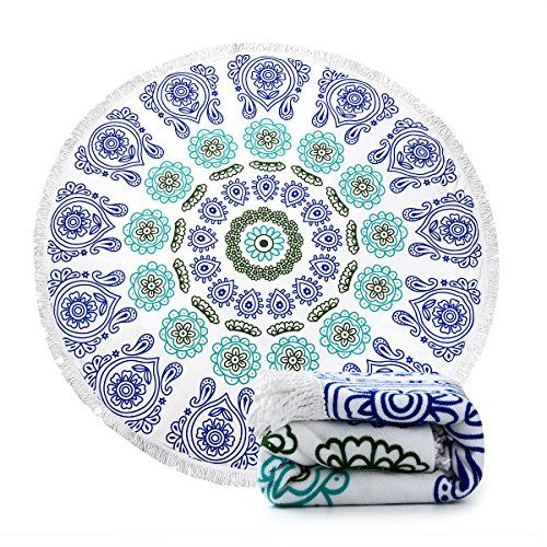 Ricdecor Indian Mandala Microfiber Large Round Beach Blanket with Tassels Ultra Soft Super Water Absorbent Multi-Purpose Towel 59 inch across (NO.3). For product & price info go to:  https://all4hiking.com/products/ricdecor-indian-mandala-microfiber-large-round-beach-blanket-with-tassels-ultra-soft-super-water-absorbent-multi-purpose-towel-59-inch-across-no-3/