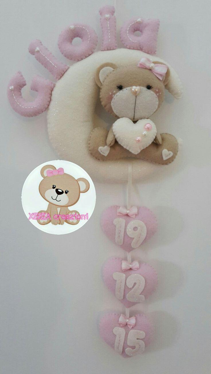 https://m.facebook.com/XENIA-creazioni-1413280015640861/ Fiocco nascita personalizzabile. Interamente fatto a mano. Birth ribbon personalized