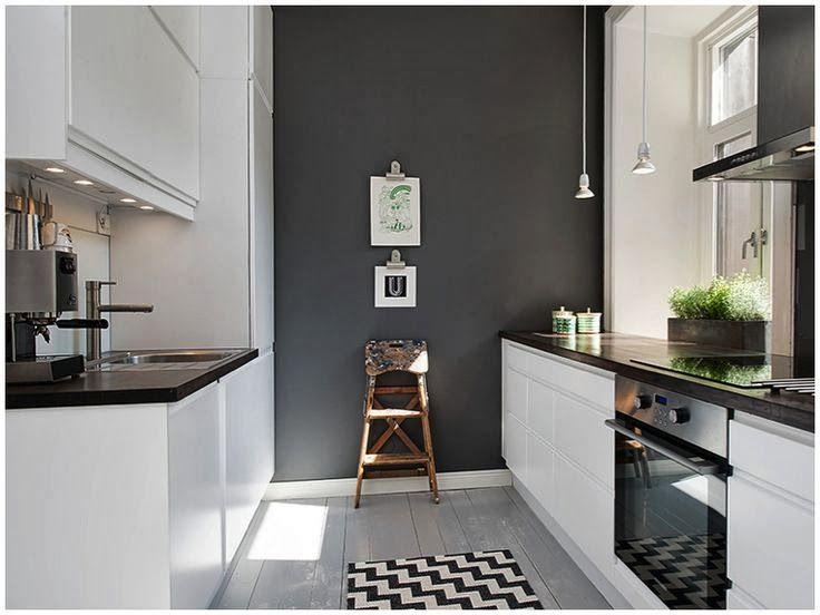 white kitchen black benchtop black floor - Google Search