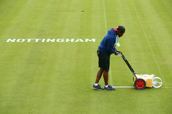 Groundstaff prepare the courts ahead of the start of play on day one of Qualifying of the Aegon Open at Nottingham Tennis Centre on June 10, 2017 in Nottingham, England.