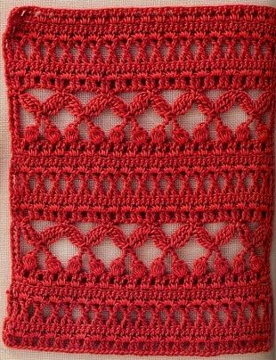 The cherry stitch! with diagram! so lovely for a fruity crochet stole or shawl!