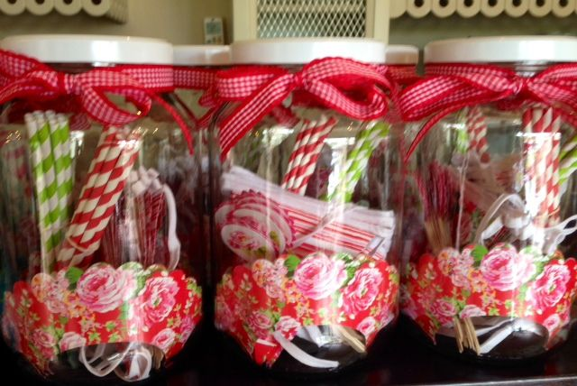 Lou Harvey china rose red party jars, perfect for a high tea