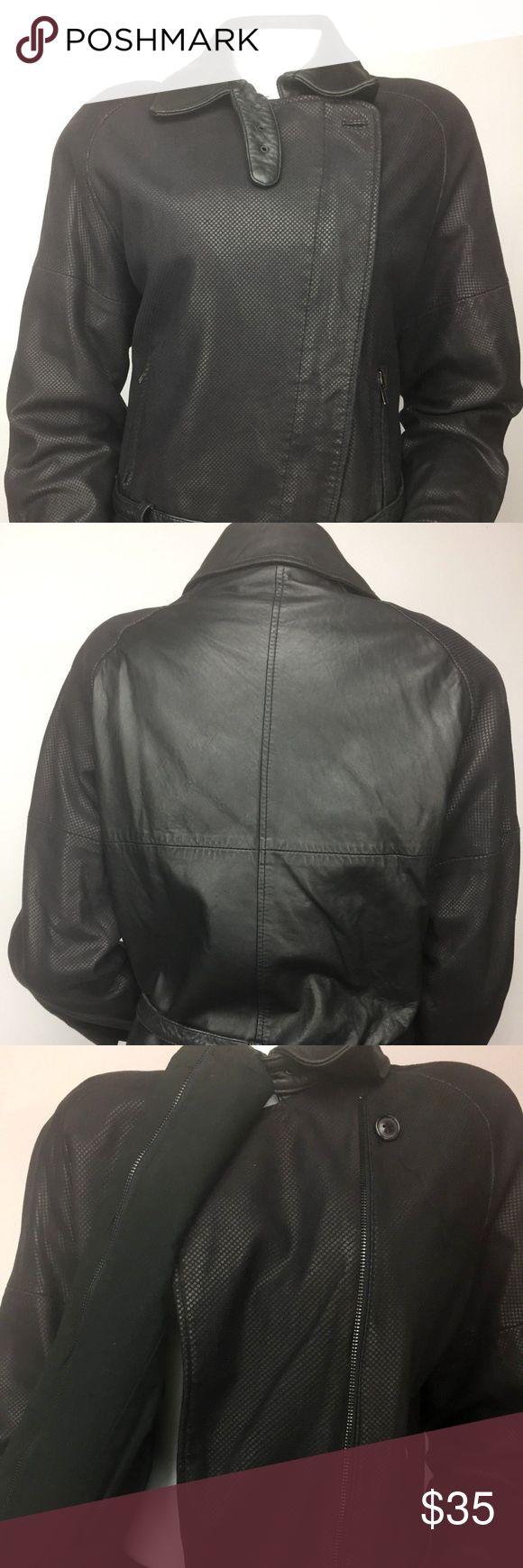 M. Julian Women Leather Moto Jacket sz 8 Black Zip M