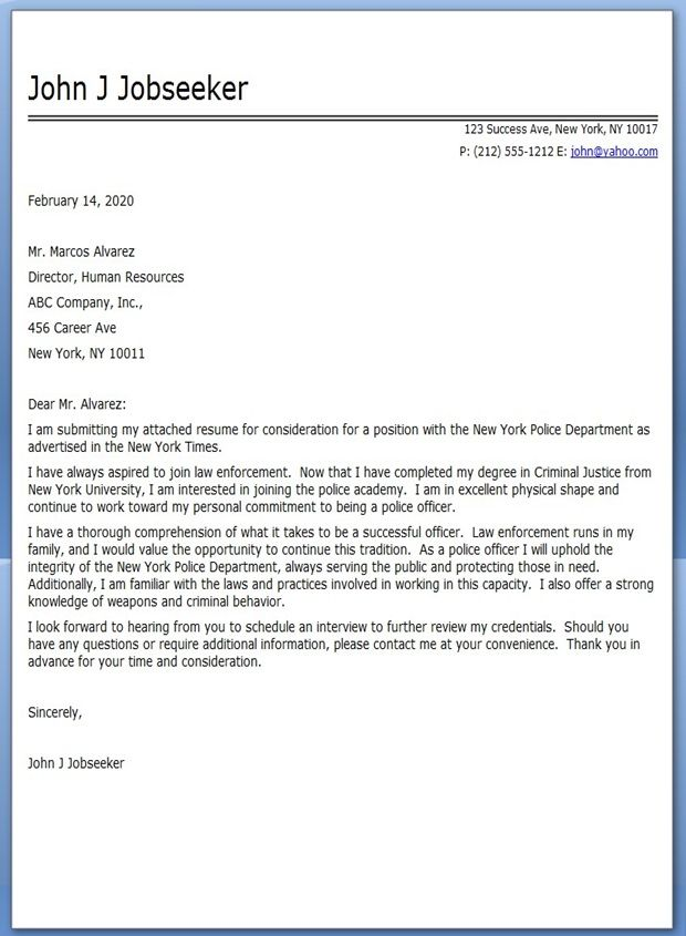 Police Officer Cover Letter Sample Pinterest