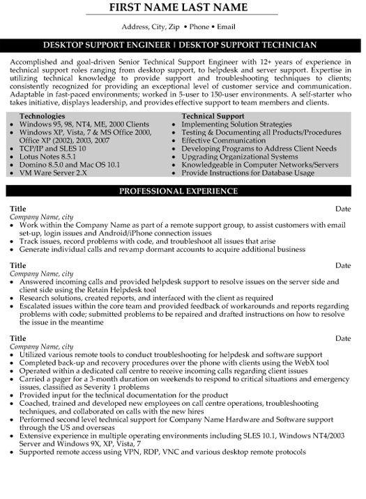 Resume For Desktop Support Manager - Vision professional