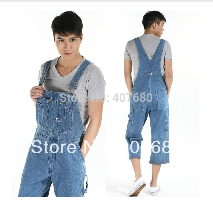 Summer Mens Casual Loose Denim jumpsuits overalls bib pants light blue cargo pants plus size gardener capris size 36-42 xxxxl