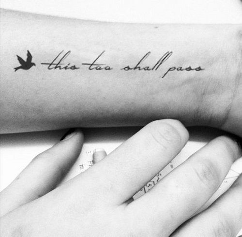 Small Black Bird Tattoo with Quote