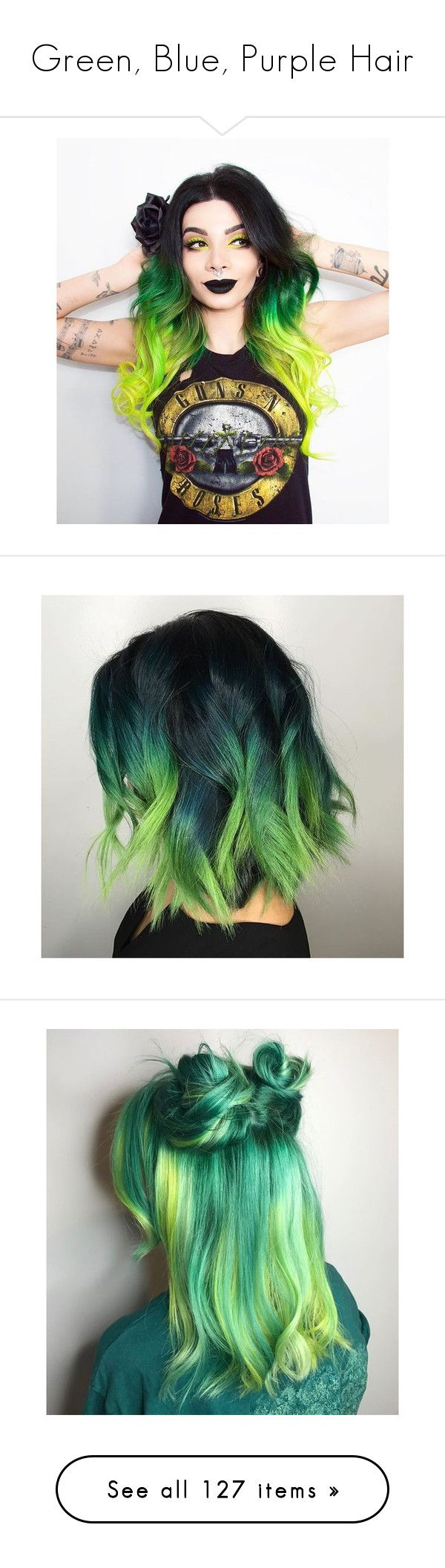 """Green, Blue, Purple Hair"" by starboyawg ❤ liked on Polyvore featuring hair, accessories, hair accessories, teal hair accessories, orange hair accessories, beauty products, haircare, hair color, green hair accessories and girls"