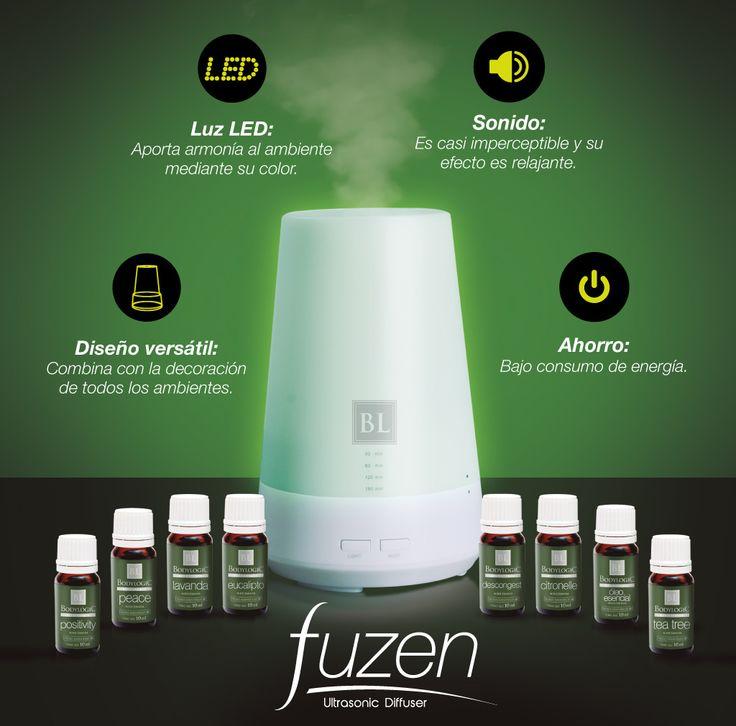 Fuzen es un innovador difusor ultrasónico LED que sirve para dispersar aceites esenciales puros en el aire.Cuenta con tecnología de punta que mediante vibraciones ultrasónicas fragmenta en partículas diminutas los aceites y los dispersa de manera efectiva en el ambiente, para obtener así el máximo efecto terapéutico.