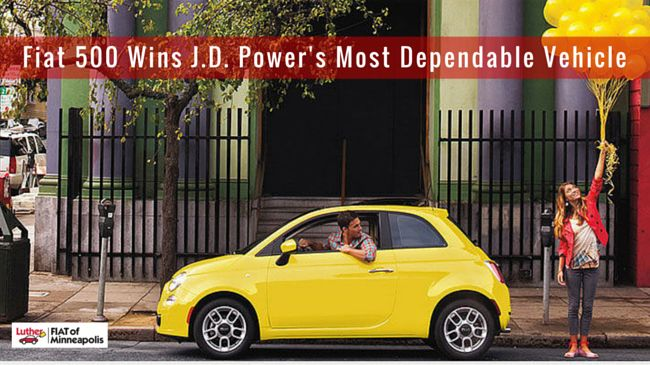 FIAT 500 Wins J.D. Power's Most Dependable Vehicle | Fiat of Minneapolis | J.D. Power has released has released its 2016 Dependability Ratings & Awards and to no surprise, FIAT is found among the list. The car reliability study examined owner-related problems reported during the last 12 months by original owners of three-year-old vehicles. #carforsale #minneapolis #fiat #fiatinminneapolis #fiatforsale #fiat500