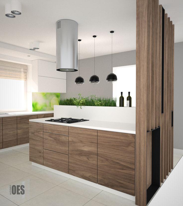 #nowoczesna kuchnia wyspa w kuchni, drewniane meble, zielone akcenty w kuchni