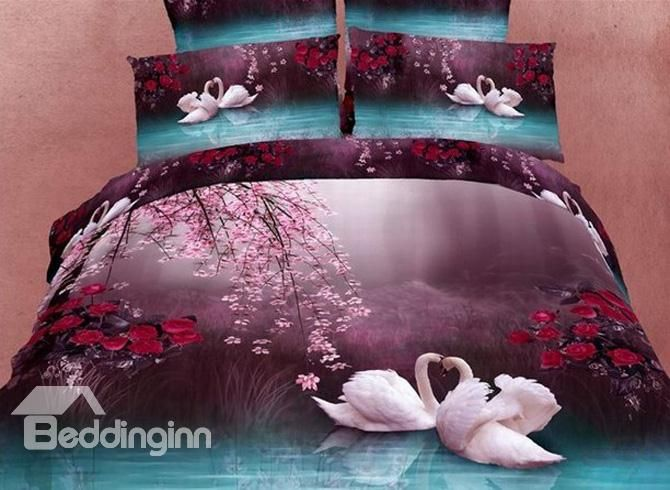 4 Piece Cotton Bedding Sets with Romantic White Swans in the Lake #beddinginnreviews #beddingsets
