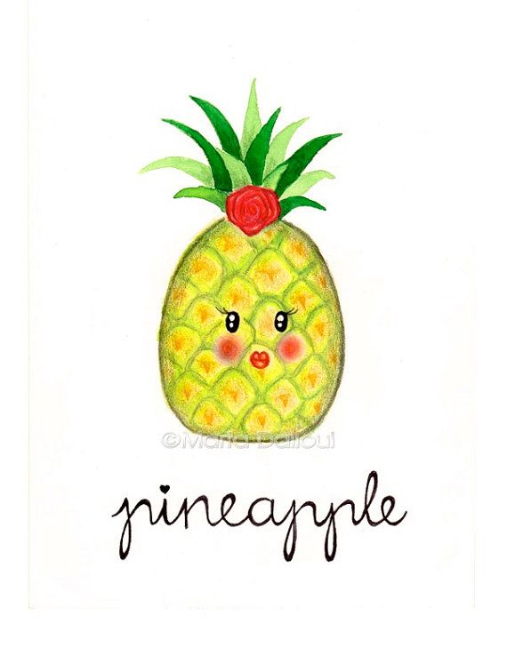 Pineapple fruit art original watercolor painting. Cute ...
