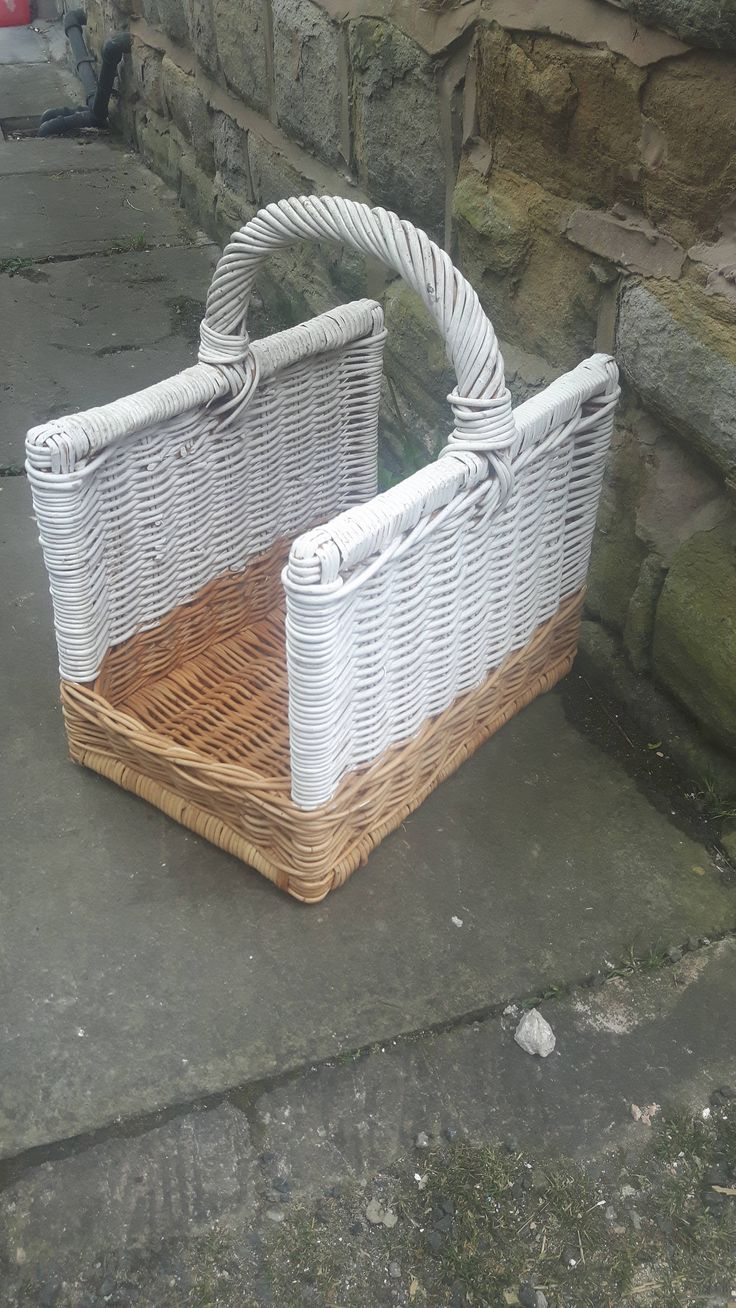 Open Ended Wicker Fire Log Carrier Basket Farm Shop Strong White Painted Dipped by LuxeandBear on Etsy