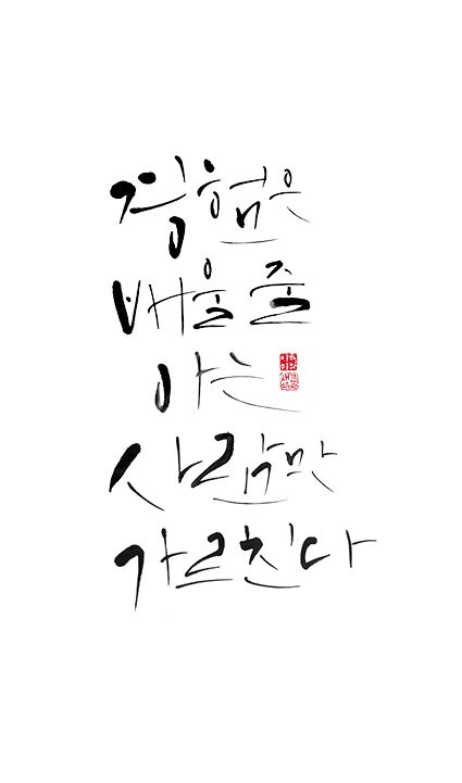 calligraphy_경험은 배울 줄 아는 사람만 가르친다_올더스헉슬리