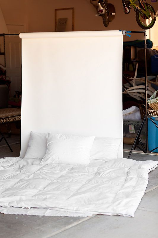 """Fake Bed Setup. Great for """"at home"""" portraits!"""
