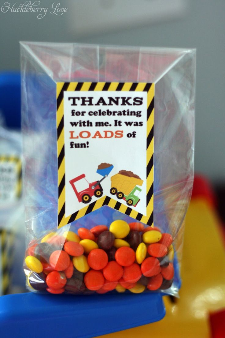 Huckleberry Love Construction Themed Birthday Party Favors