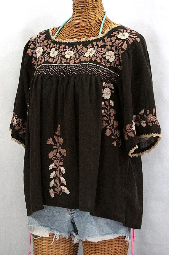 Mexican Peasant Blouse Top Hand Embroidered La by Sirenology, $52.95