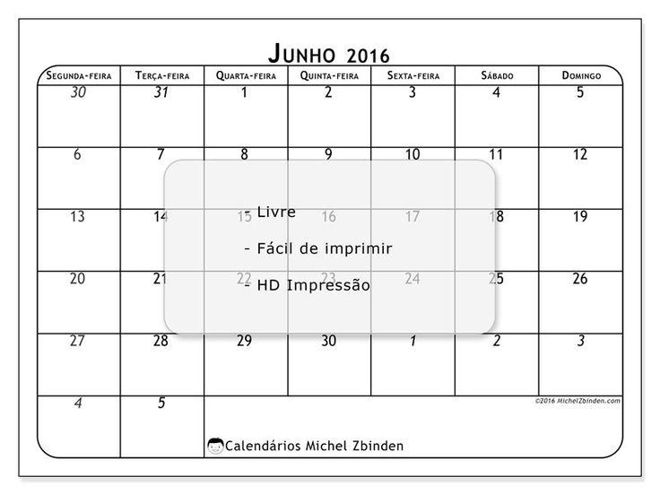 """Calendário """"Maximus (Sf)"""" junho 2016 para imprimir"""
