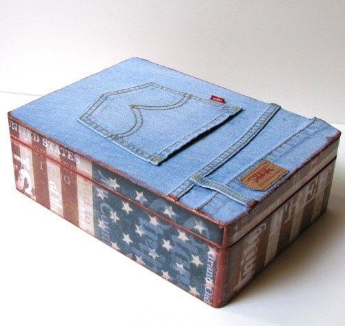 upcycled cigar boxes | ... Jeans Upcycled Handmade Keepsake Box Memory ... | Cigar box Cr: