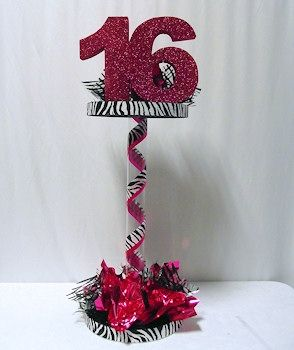 red zebra decorations for quinceaneras | Dazzling 16 Centerpiece