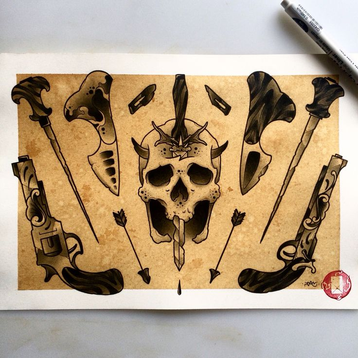 Black weapons flash sheet for tattooing