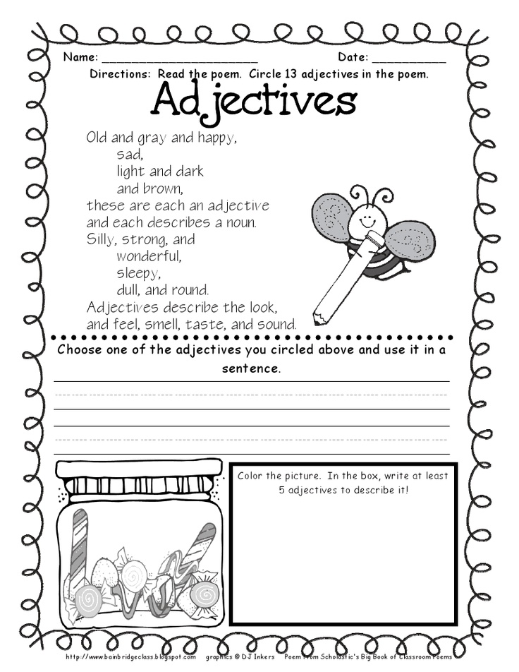 17 best adjectives images on pinterest adjective anchor chart adjectives poem activity bunting books and bainbridge the last of the grammar poetry freebies fandeluxe Images