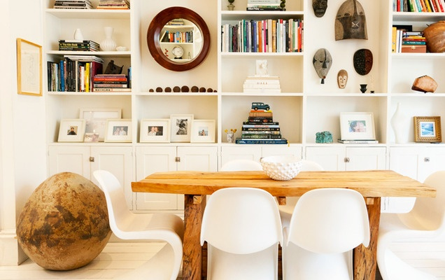 pretty bookcase: Ladder, Dining Rooms, Chairs, Interiors Design, Book, House, Small Spaces, White Interiors, Dining Tables
