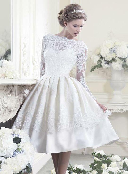 Beformal.com.au SUPPLIES Cute A-Line Scoop Full-Sleeve  Appliques Wedding Dress A Line Wedding Dresses