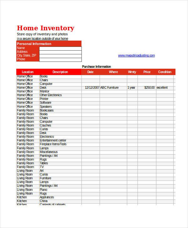 9 Excel Inventory With Images Home Inventory Templates