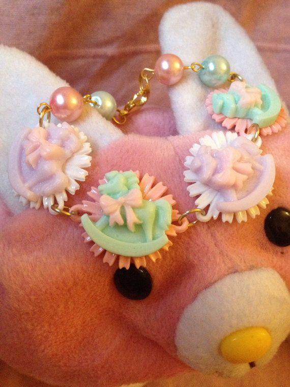 Kawaii Rocking Horse Pastel Beaded Bracelet