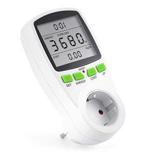 Arendo – appareil de mesure des coûts d'énergie | compteur de consommation électrique | affichage temps / énergie / coût | Set / Up / coût,…
