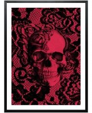 Gothic Lace Skull-Framed Art Print