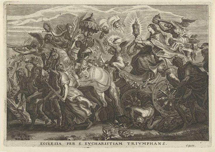 Cornelis Galle (I)   Triomfwagen met de Kerk die de eucharistie verheerlijkt, Cornelis Galle (I), Peter Paul Rubens, 1586 - 1650   De personificatie van de Kerk zit op een triomfwagen die begeleidt wordt door engelen. Ze houdt een monstrans met beide handen vast en wordt gekroond met een tiara. De wagen rijdt over de vijanden van de kerk. Te herkennen is Afgunst met haar slangenhoofd. Links naast de wagen lopen twee gevangenen. Een man met ezelsoren en een geblinddoekte oudere man.
