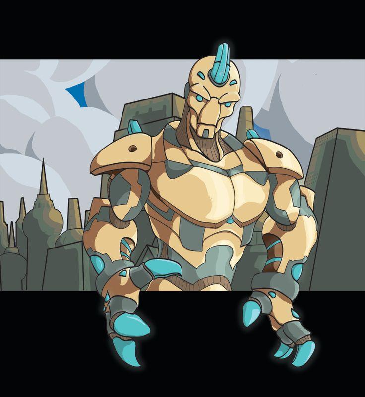 A stylized robot and city