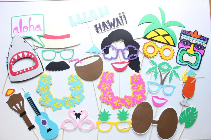 25 pc* Luau Party Photobooth Props/Hawaiian Party, Surf Party, Summer Party/ Aloha Props  - DIGITL FILE by ThePartyGirlStudio on Etsy