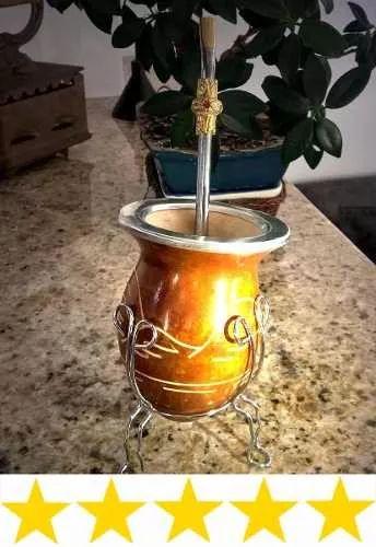 cuia de chimarrão + bomba + suporte | frete gratis
