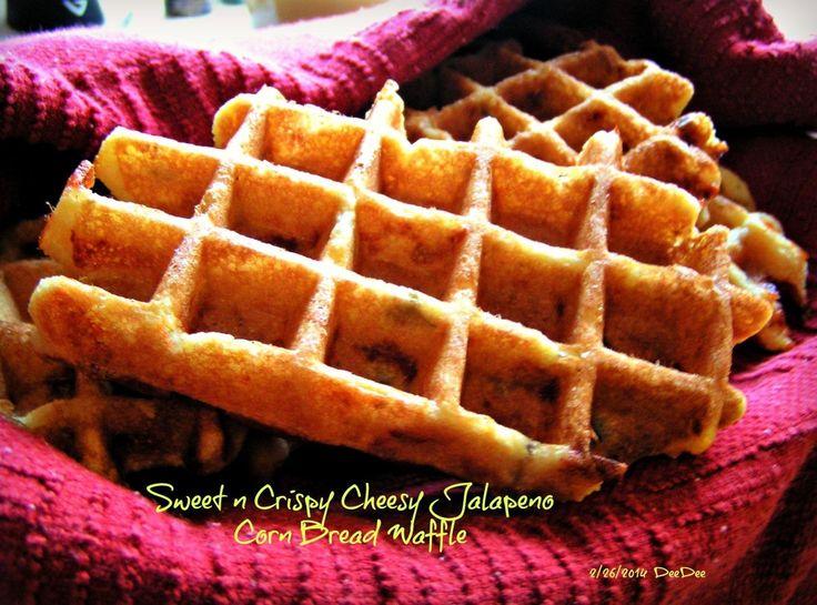 Sweet n Crispy Cheesy Jalapeno Corn Bread Waffles