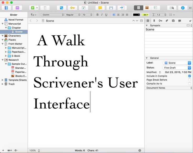 I'm going to give you a Scrivener walkthrough about the important pieces of Scrivener's interfaces, their names, and what each one is used for.