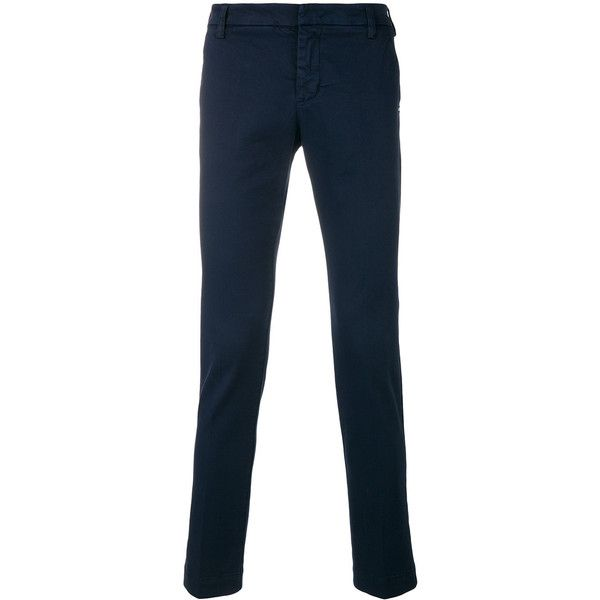 Entre Amis classic fitted chinos ($152) ❤ liked on Polyvore featuring men's fashion, men's clothing, men's pants, men's casual pants, blue, mens chino pants, mens chinos pants, mens blue pants and mens blue chino pants