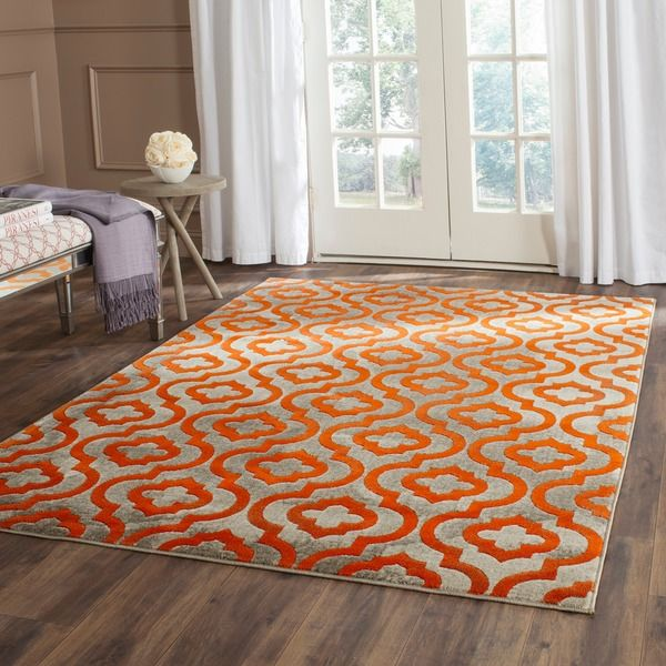 Safavieh Porcello Light Grey/ Orange Rug (4u00271 X ...