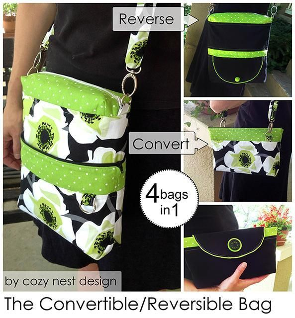 ❁ Convertible Reversible 4-in-1 Bag – PDF Sewing Pattern from Cozy Nest Design  + 11 More Convertible Bags to Sew