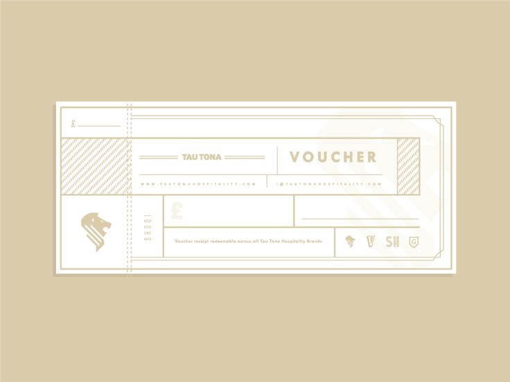 Ltd Edition Voucher design for the Tau Tona Hospitality group who run 4 venues in the South West Area